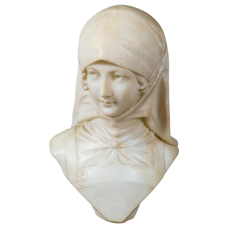 White Marble Bust of a Girl For Sale