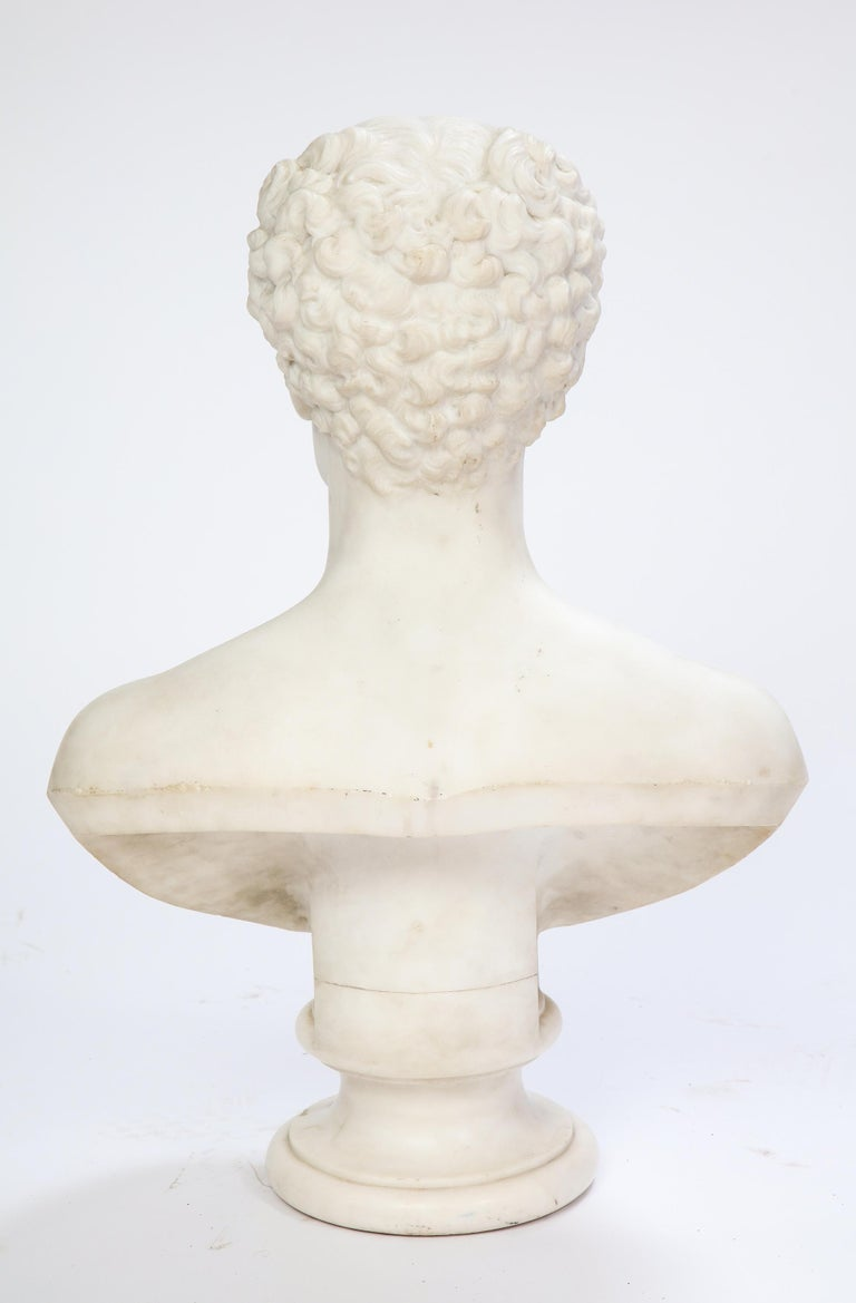 White Marble Bust of a Man with a Mustache, Possibly Italian, 19th/20th Century For Sale 5