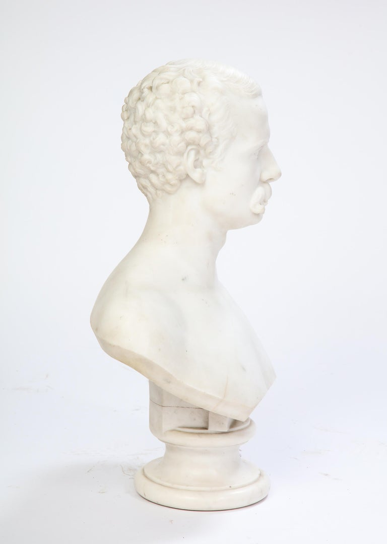 White Marble Bust of a Man with a Mustache, Possibly Italian, 19th/20th Century For Sale 6