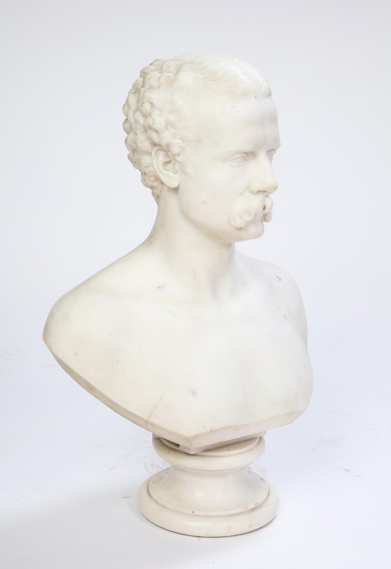 White Marble Bust of a Man with a Mustache, Possibly Italian, 19th/20th Century For Sale 7