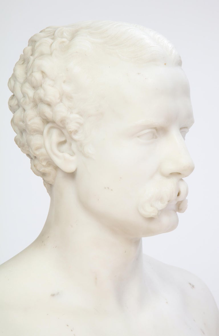 White Marble Bust of a Man with a Mustache, Possibly Italian, 19th/20th Century For Sale 8