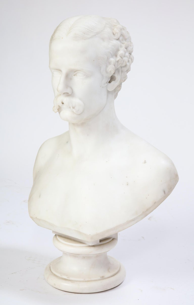 Baroque White Marble Bust of a Man with a Mustache, Possibly Italian, 19th/20th Century For Sale