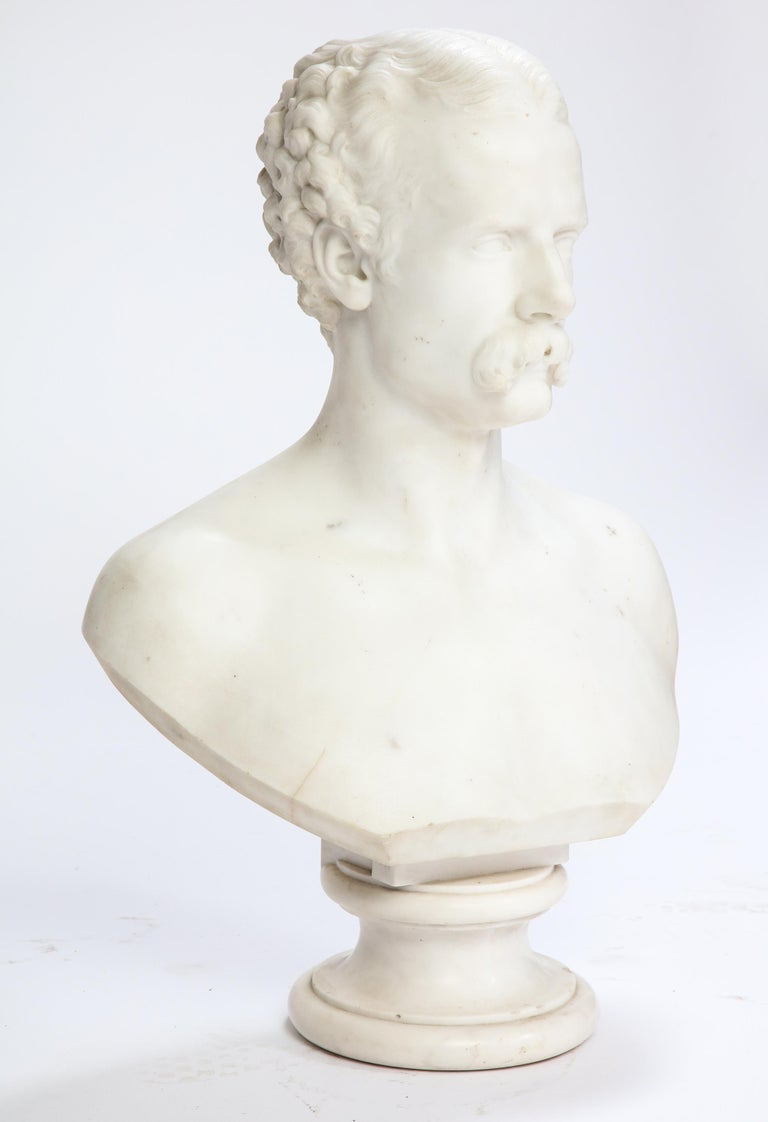 European White Marble Bust of a Man with a Mustache, Possibly Italian, 19th/20th Century For Sale