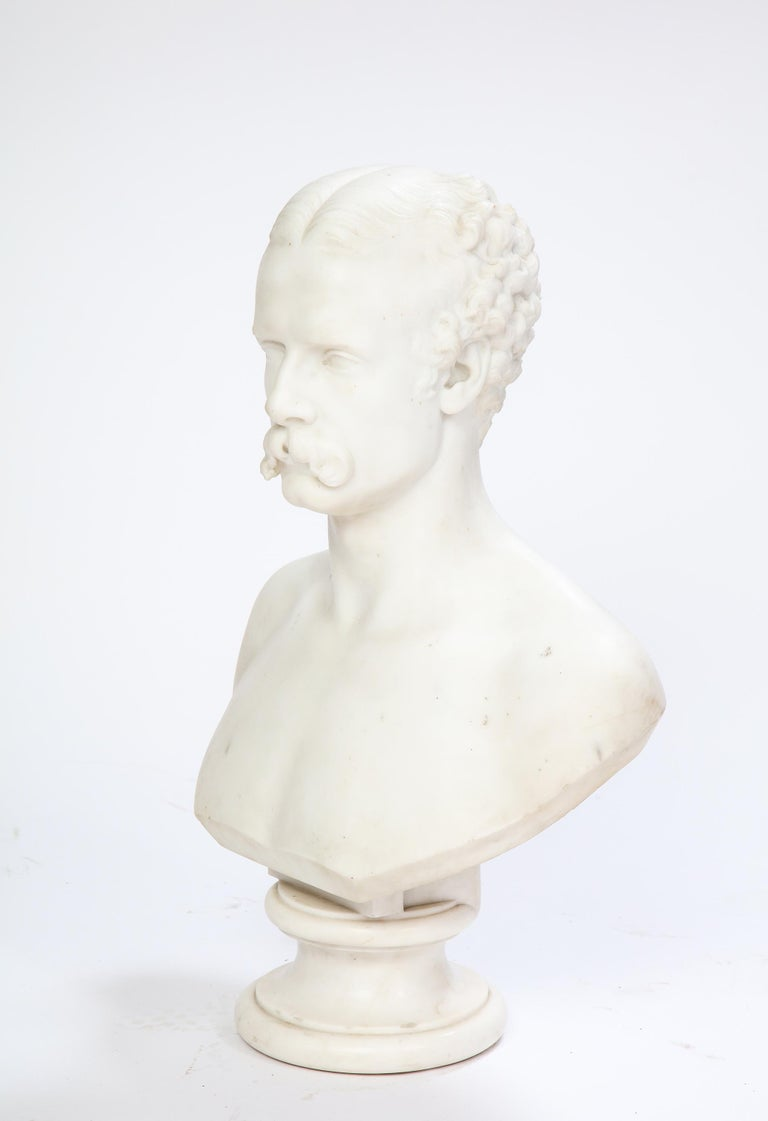 White Marble Bust of a Man with a Mustache, Possibly Italian, 19th/20th Century For Sale 2