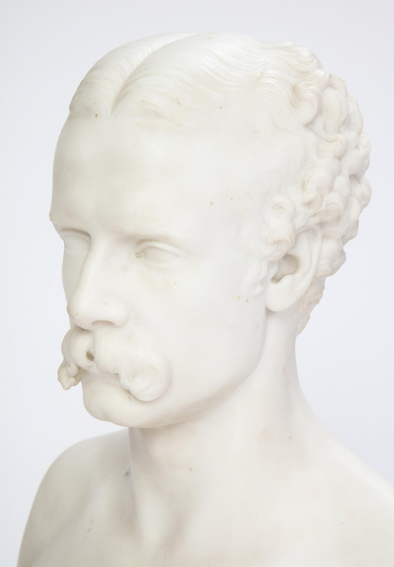 Hand-Carved White Marble Bust of a Man with a Mustache, Possibly Italian, 19th/20th Century For Sale