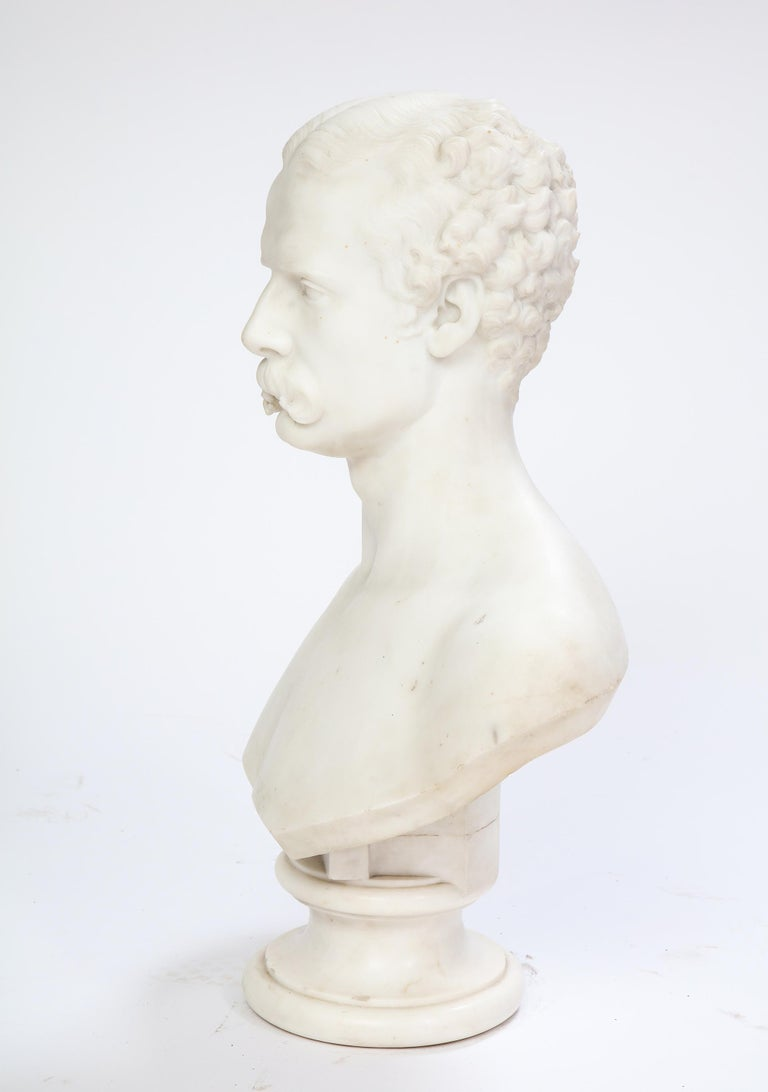 White Marble Bust of a Man with a Mustache, Possibly Italian, 19th/20th Century For Sale 3