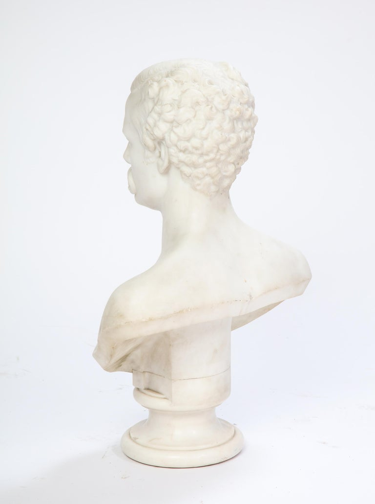 White Marble Bust of a Man with a Mustache, Possibly Italian, 19th/20th Century For Sale 4