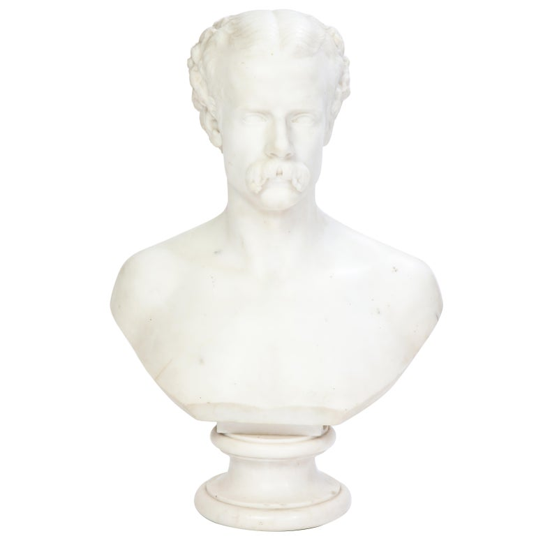 White Marble Bust of a Man with a Mustache, Possibly Italian, 19th/20th Century For Sale
