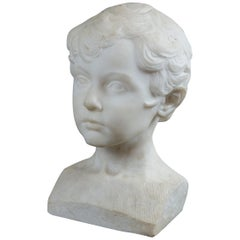 White Marble Bust of a Young Boy