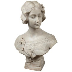 White Marble Bust of a Young Lady, Signed