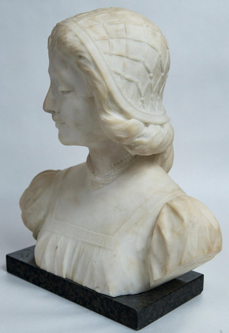 White Marble Bust of a Young Woman For Sale 5