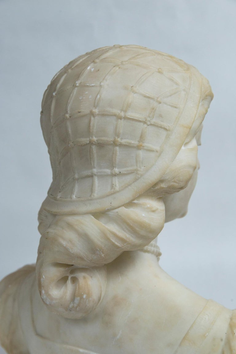 White Marble Bust of a Young Woman For Sale 2