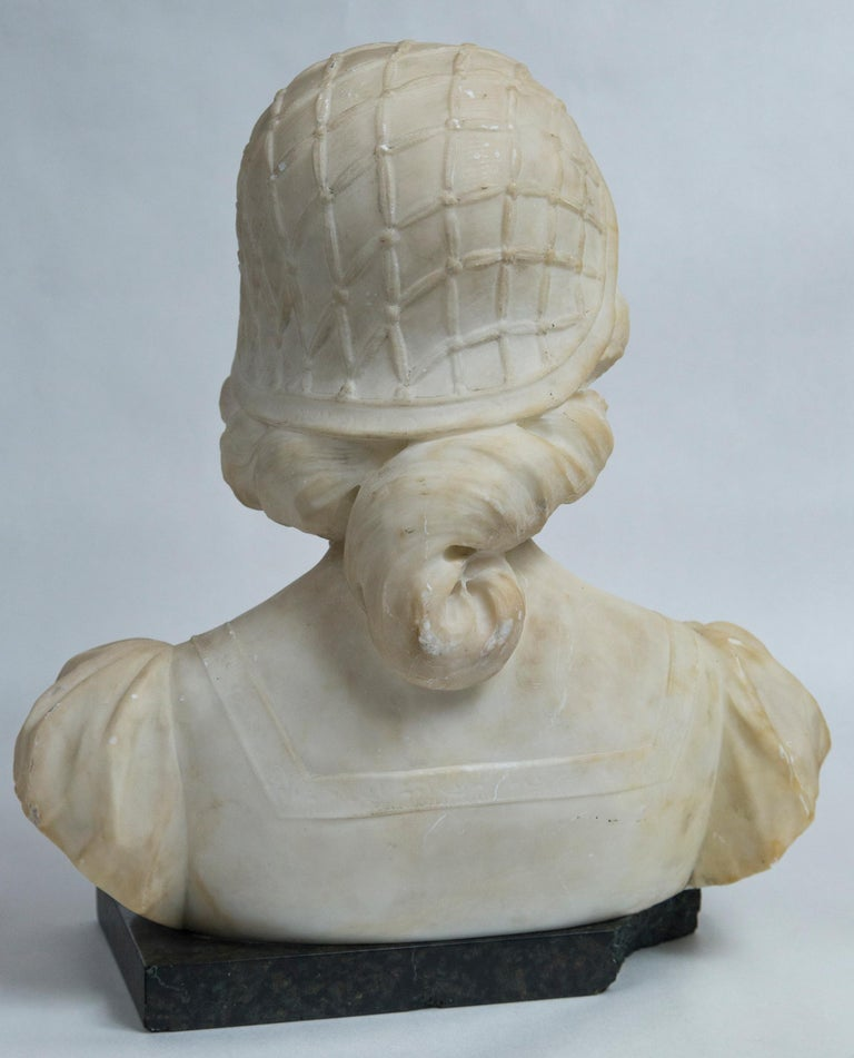 White Marble Bust of a Young Woman For Sale 3