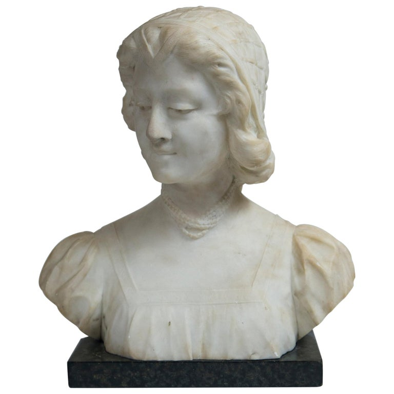 White Marble Bust of a Young Woman For Sale