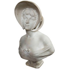 White  Marble Bust of Young Lady Wearing a Hat, Signed  Riccardo  Galli, Milano