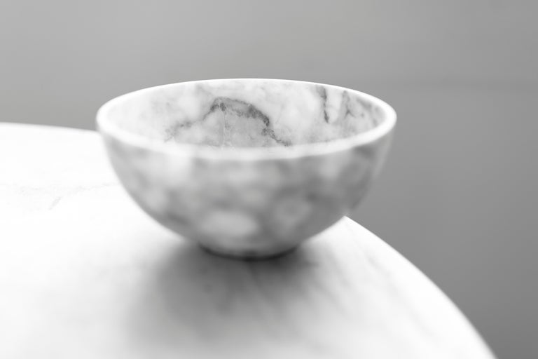 Small bowl in carved Veneciano white marble. Handmade in México by local craftsmen.