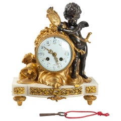 White Marble Clock, Golden Bronze and Antique Black, Allegory of Peace