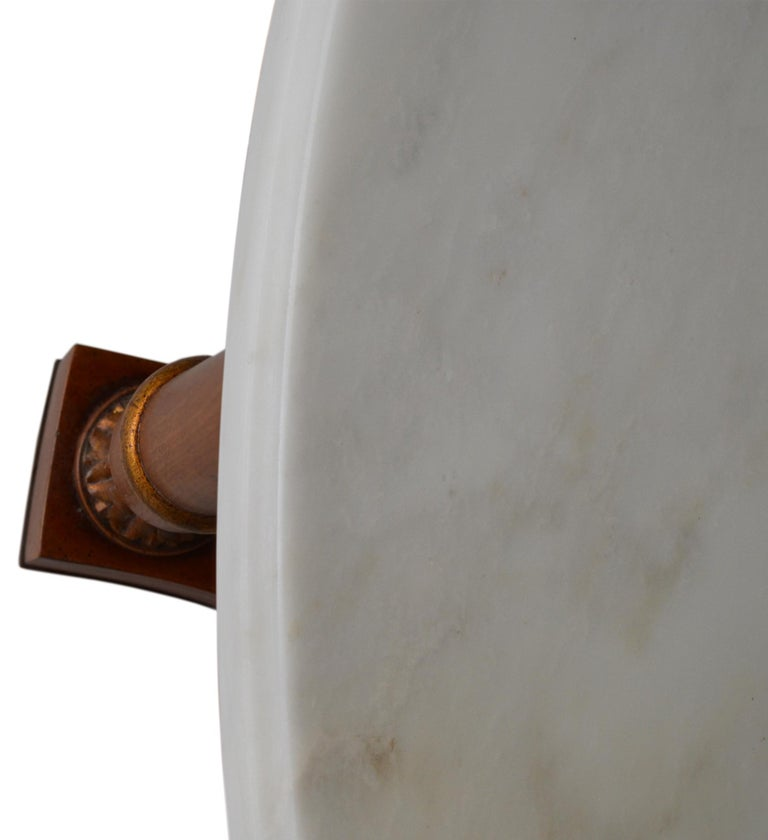 Italian Round Coffee table white marble top Cherrywood Base Cupioli handmade in Italy For Sale