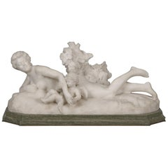 White Marble Figural Group of Venus and Cupid by Henri Weigele, circa 1900