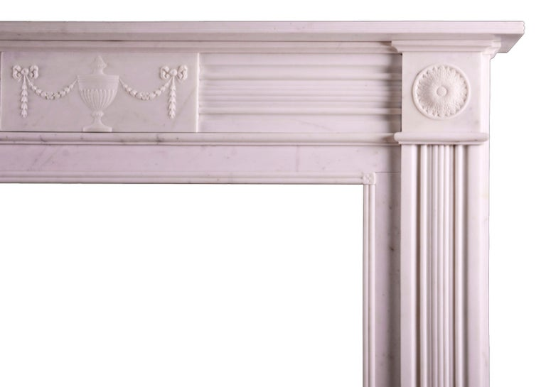 White Marble Fireplace in the Regency Style In Excellent Condition For Sale In London, GB