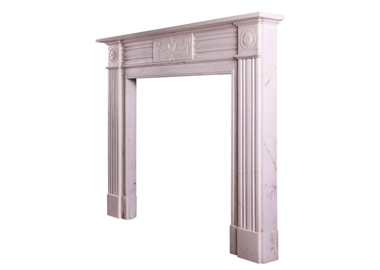 19th Century White Marble Fireplace in the Regency Style For Sale