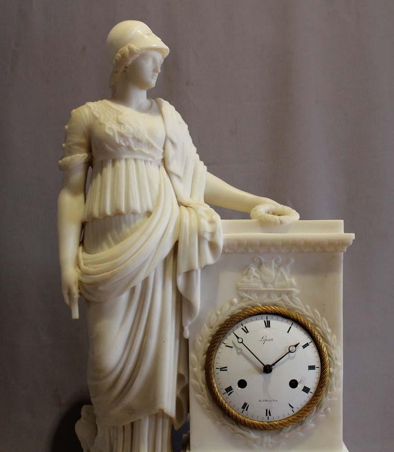 Charles X White Marble French Clock, Dial Signed Lepaute, Marble Signed Franco Franchi For Sale