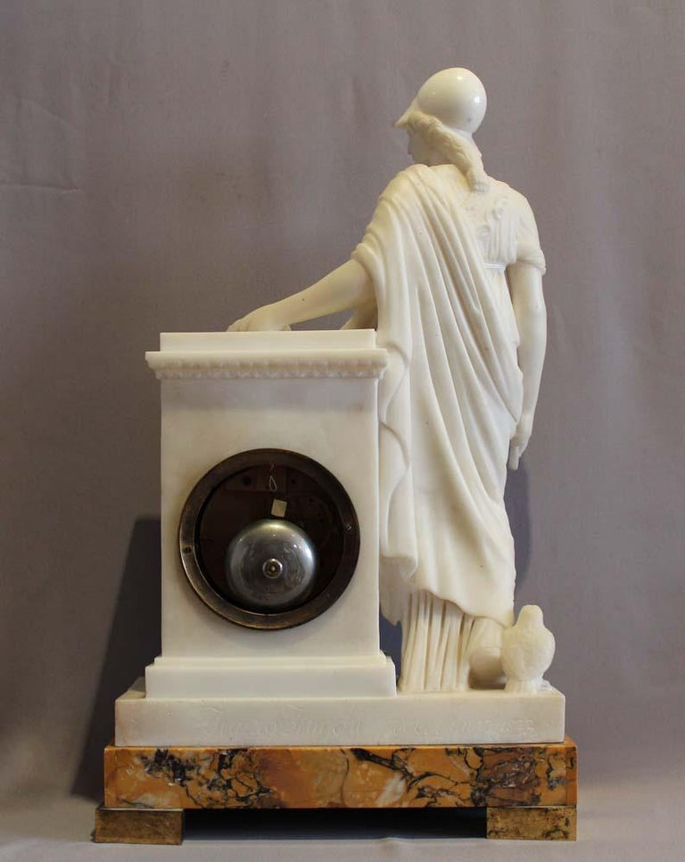 White Marble French Clock, Dial Signed Lepaute, Marble Signed Franco Franchi In Good Condition For Sale In London, GB