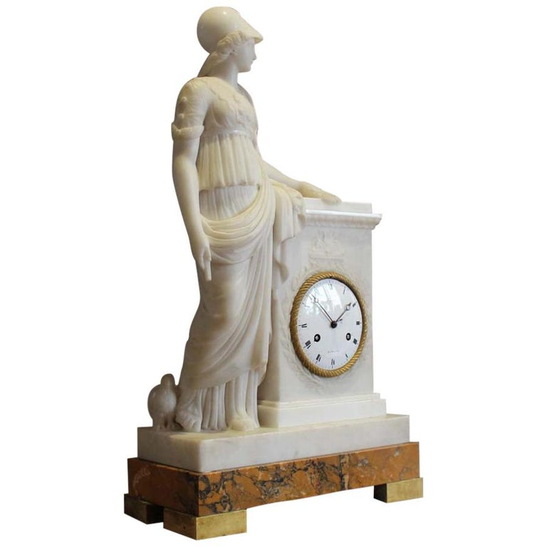 White Marble French Clock, Dial Signed Lepaute, Marble Signed Franco Franchi For Sale
