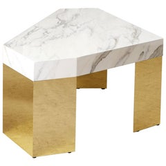 White Marble Gem Coffee Table with Brass Base by Slash Objects