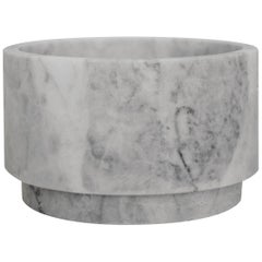 White Marble Low Pedestal Cylinder