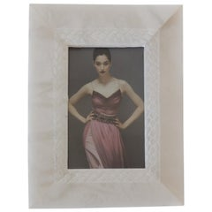 White Marble Picture Frame with Hand Carved Inset Border