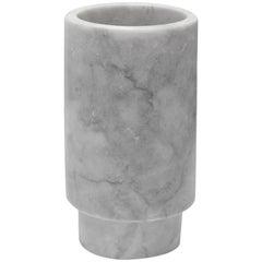 White Marble Tall Pedestal Cylinder