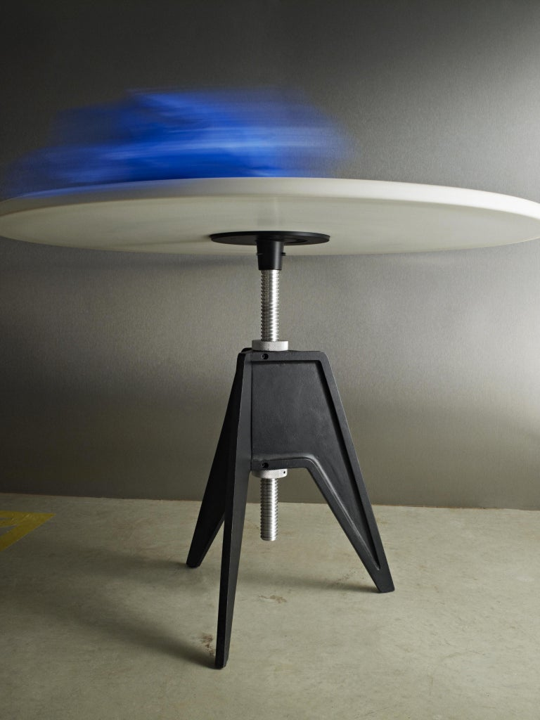 Modern White Marble-Top Adjustable Height Screw Cafe Table For Sale