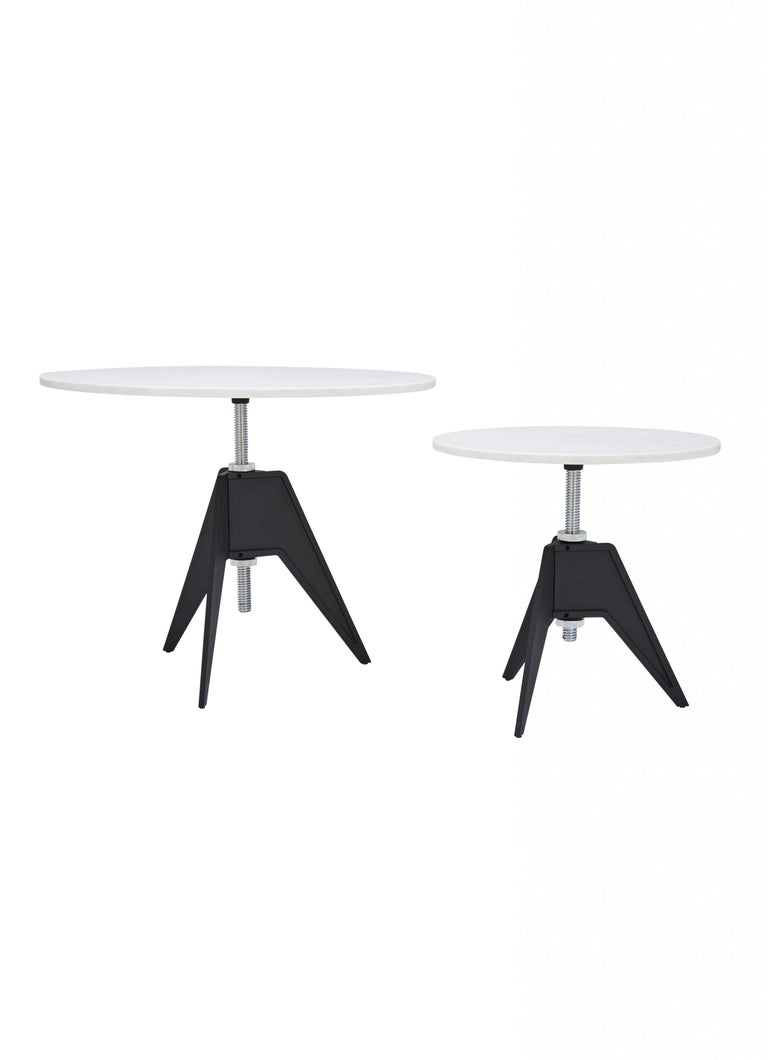 White Marble-Top Adjustable Height Screw Cafe Table In New Condition For Sale In New York, NY
