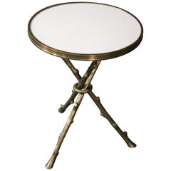 White Marble-Top Bronze Faux Bois Baguès Style End Occasional Table, circa 1980