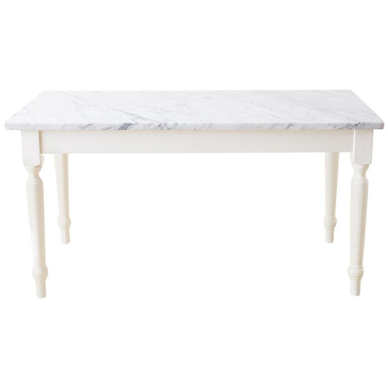 White Kitchen Tables For Sale: White Marble-Top Painted Farmhouse Dining Table For Sale