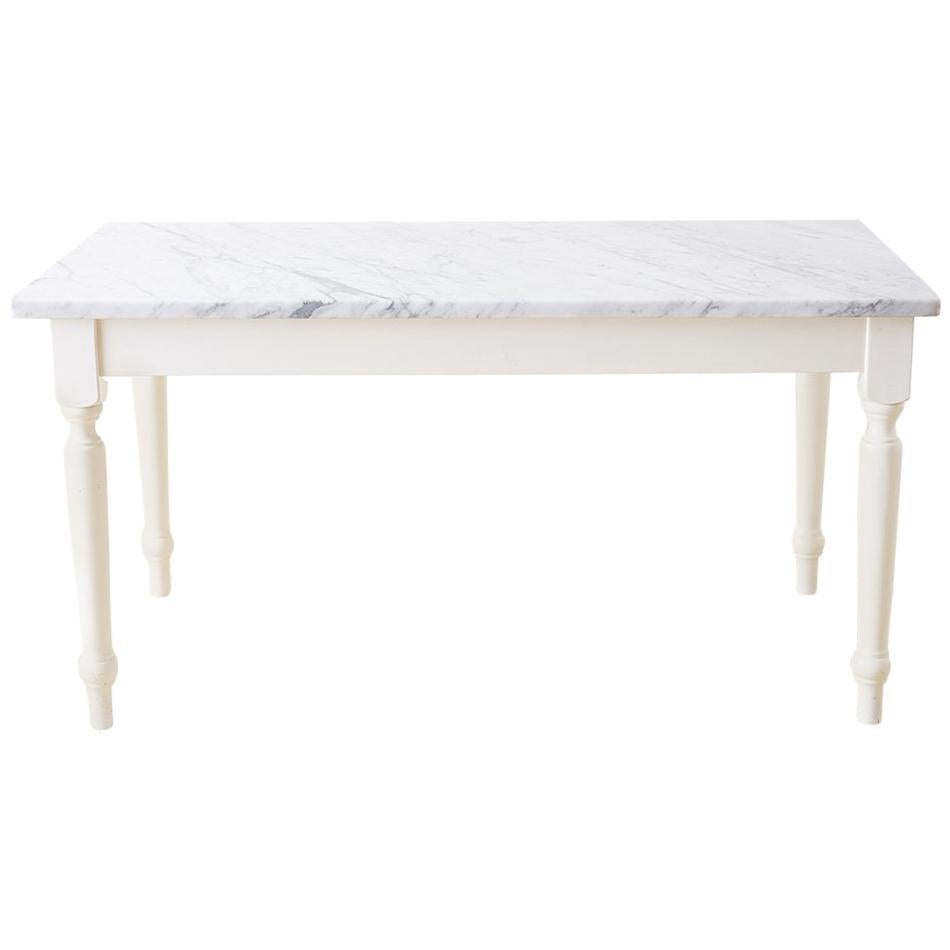 Gentil White Marble Top Painted Farmhouse Dining Table