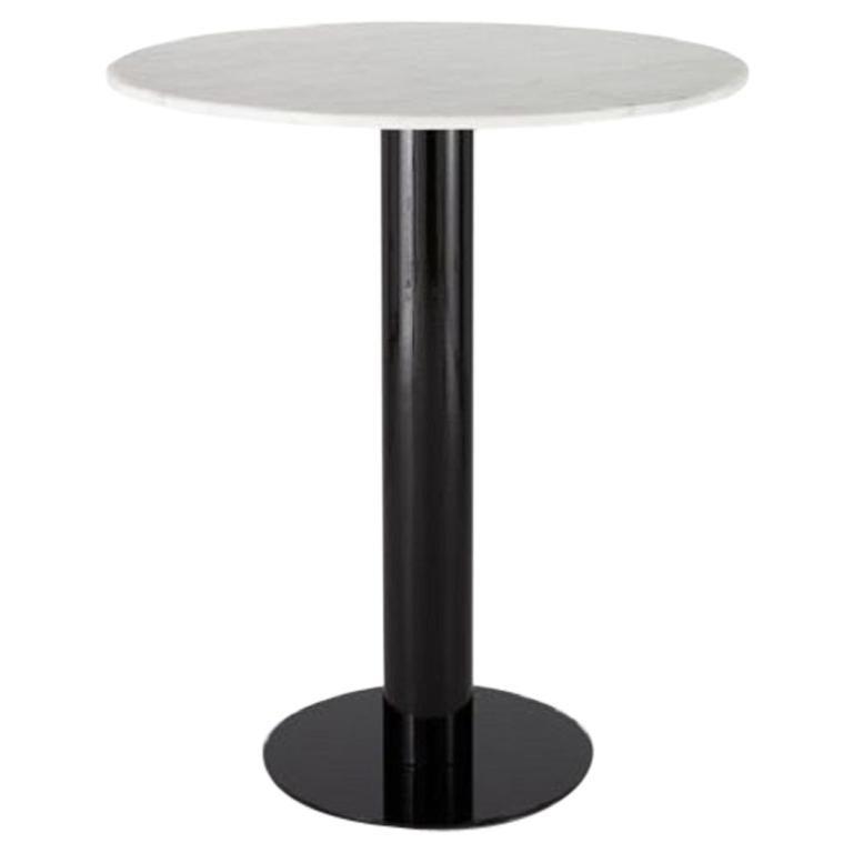 White Marble Tube Black High Table 900mm