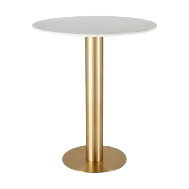 White Marble Tube Brass High Table