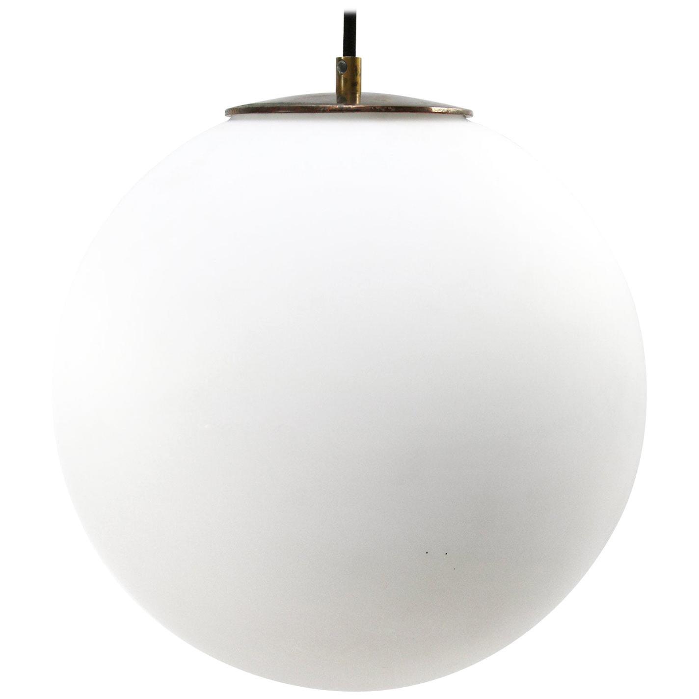 White Mat Opaline Glass Vintage European Brass Top Pendant Lights
