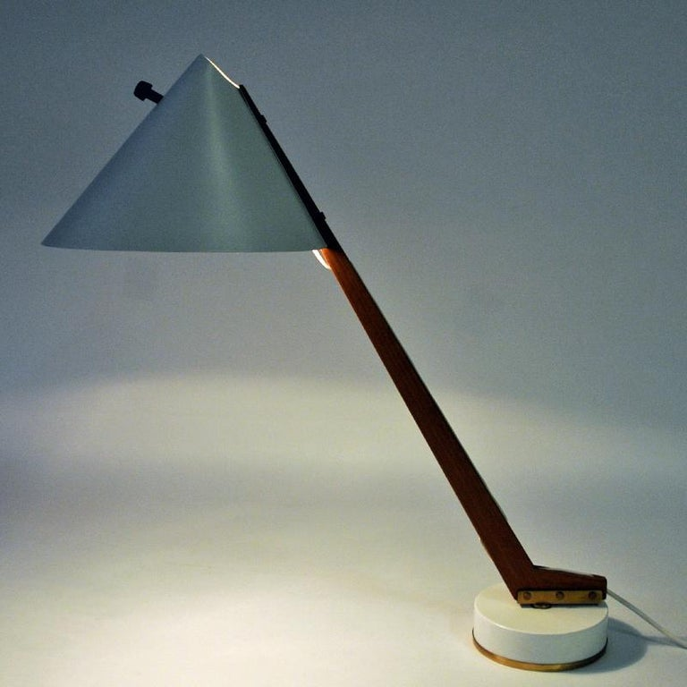 Lacquered White Metal and Teak Table Lamp B54, Hans Agne Jakobsson, 1950s, Sweden For Sale