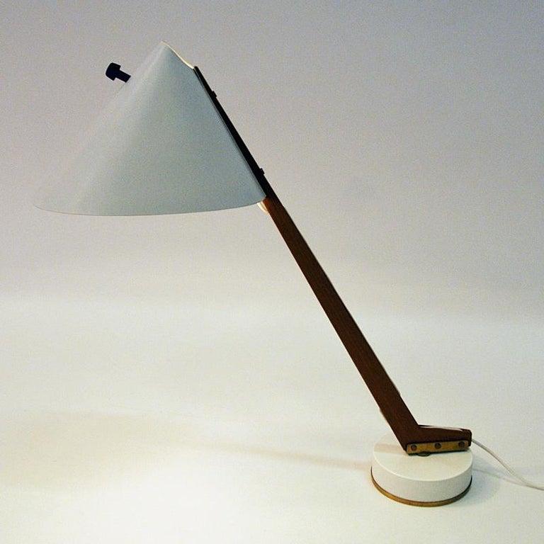 White Metal and Teak Table Lamp B54, Hans Agne Jakobsson, 1950s, Sweden For Sale 1