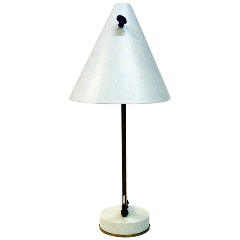 White Metal and Teak Table Lamp B54, Hans Agne Jakobsson, 1950s, Sweden For Sale