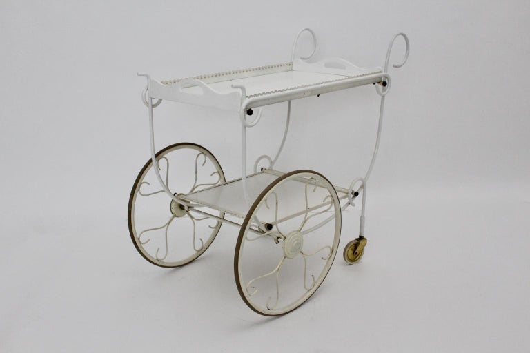 20th Century Mid Century Modern Vintage White Metal Bar Cart, 1950s, Germany For Sale