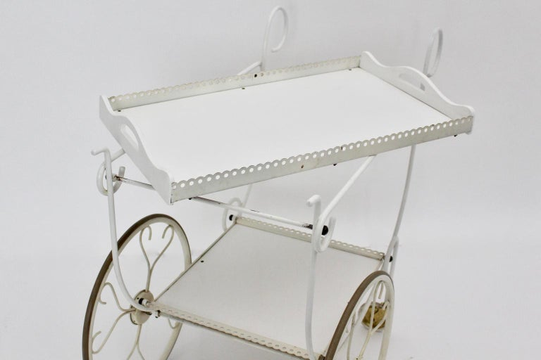 Mid Century Modern Vintage White Metal Bar Cart, 1950s, Germany For Sale 2