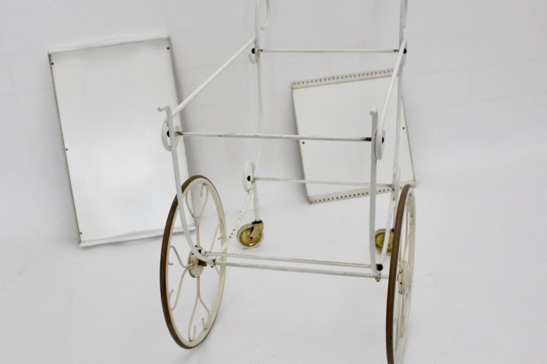 Mid Century Modern Vintage White Metal Bar Cart, 1950s, Germany For Sale 3