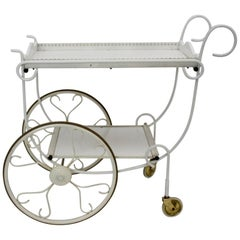 Mid Century Modern Vintage White Metal Bar Cart, 1950s, Germany