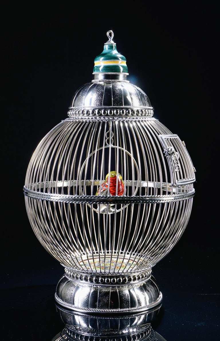 Folk Art White Metal Cage with Ceramic Birds, One of a Kind For Sale