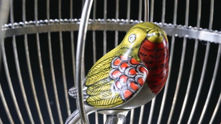 Forged White Metal Cage with Ceramic Birds, One of a Kind For Sale