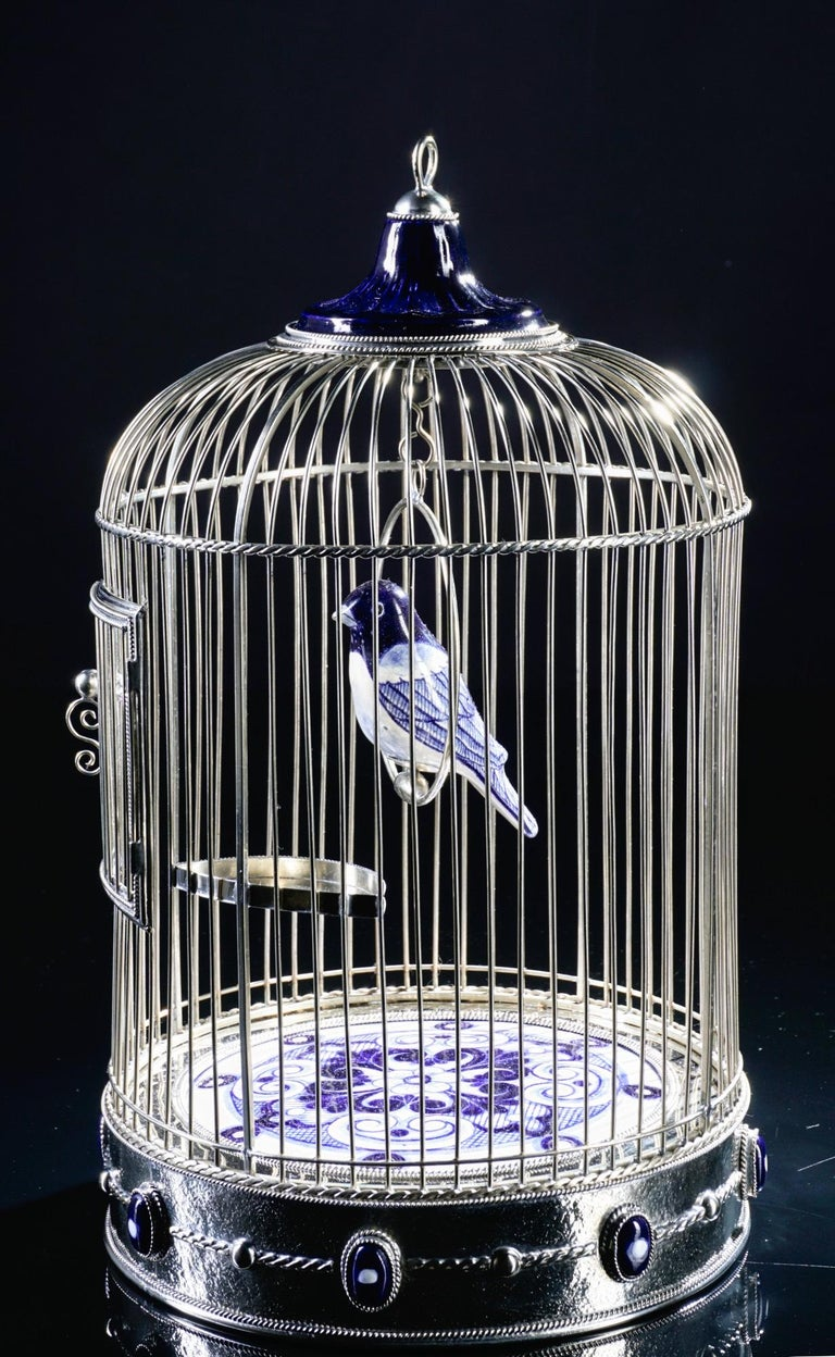 Contemporary White Metal Cage with Ceramic Birds, One of a Kind For Sale